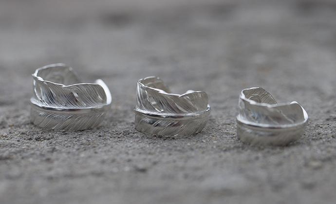 偶屿925银宽版羽毛戒指