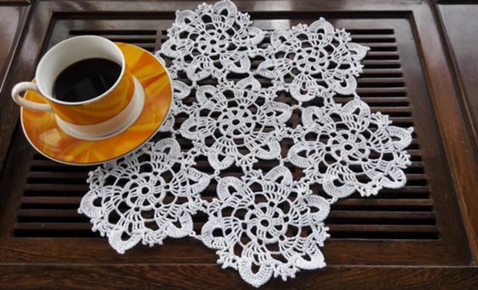 欧款进口蕾丝棉纯手工拼花茶几垫