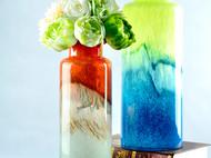 现代彩色玻璃大花瓶 绚丽多彩渐变玻璃插花瓶 田园风塑料花插花器