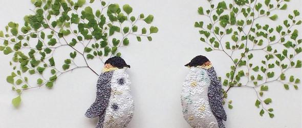 小清新的动物刺绣胸针 - 日本刺绣职人小川亜衣作品