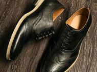微信爆款三接头雕花英伦风青年男士皮鞋复古潮男鞋子布洛克男鞋