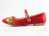小蜜蜂手绣真丝缎面平底鞋 平跟 纯手工刺绣 设计师品牌 祖母绣堂