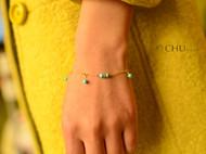 【初】 原创手工饰品 绿松石手链 镀金链