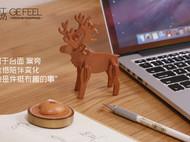 革意原创植鞣皮头层牛皮植鞣革纯手工大角鹿造型台面摆件