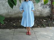 旧事原创 日系复古蓝色宽松衬衣连衣裙 大摆连衣裙