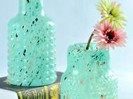 韩式田园干花花器 彩色水晶玻璃花瓶广口瓶 摆件家居软装工艺品