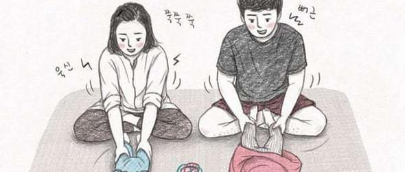 孩儿奴的幸福与烦恼 - 韩国插画师@talltree_mani 笔下的幸福一家四口
