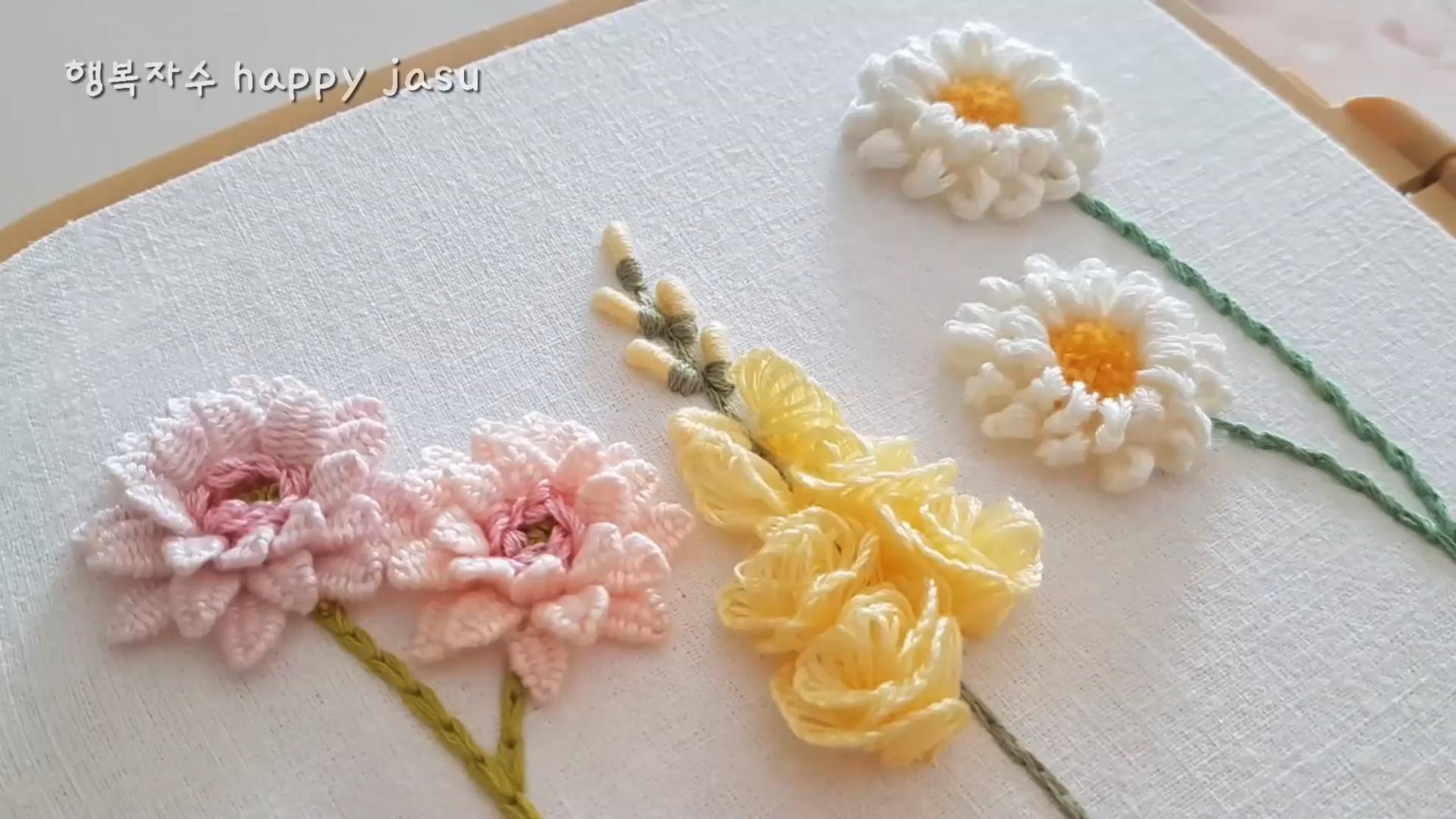温柔的立体花卉刺绣 |DIY手工刺绣视频教学