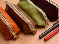 罐手制 纯手工 真牛皮手缝日系极简风文具盒笔袋 多色可定制