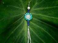 柒言不语 原创手工 夏威夷的蓝 松石 和田玉925银定制珍珠耳环
