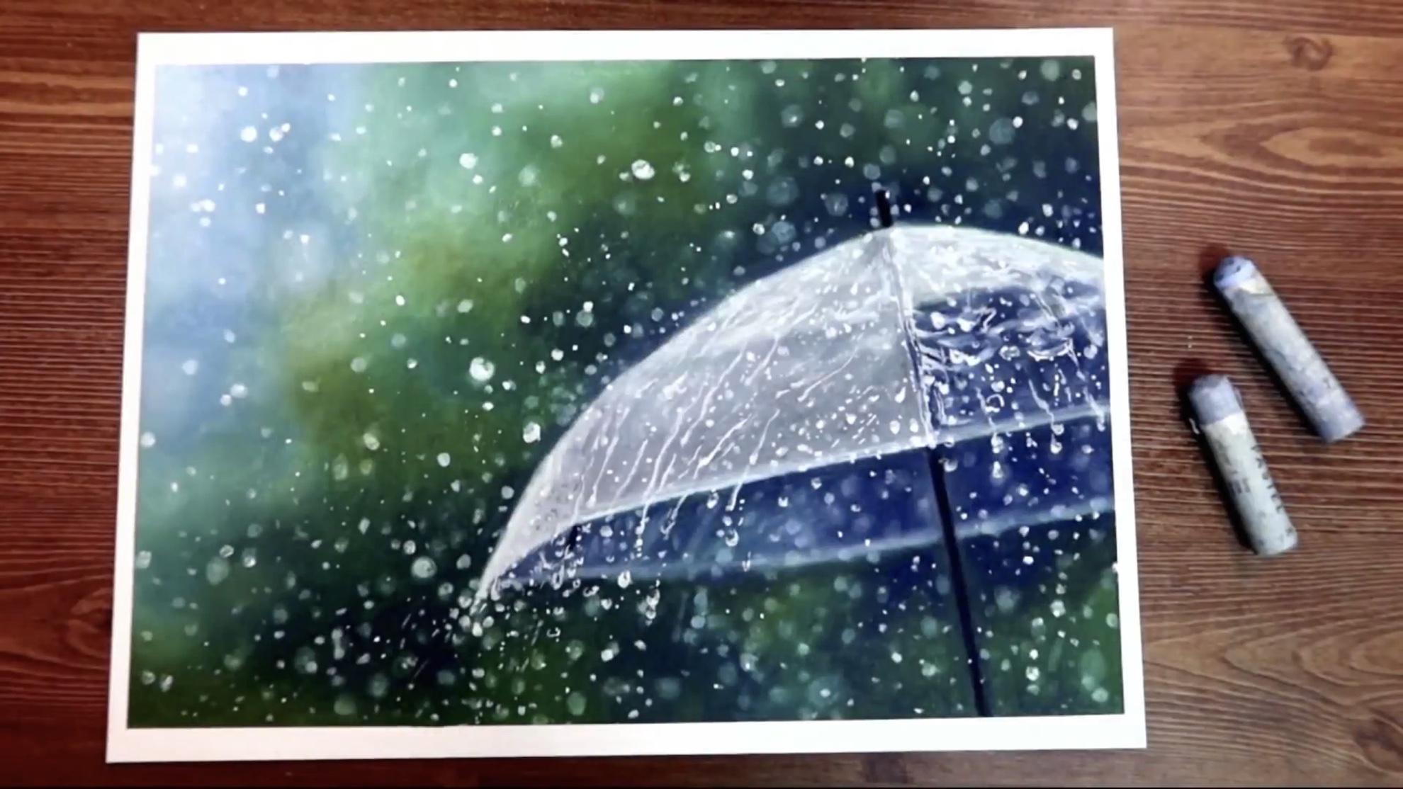 DIY超现实主义油画棒手绘视频:雨天中的透明雨伞