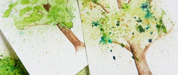 基础水彩画入门教程:水渍效果的水彩树木卡片手绘教程