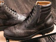 KS鞋头雕花布洛克男靴子英伦复古潮流机车靴系带高帮马丁靴男