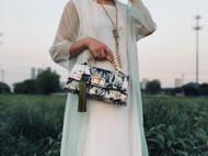 吴小姐的店墨竹牡丹手提包