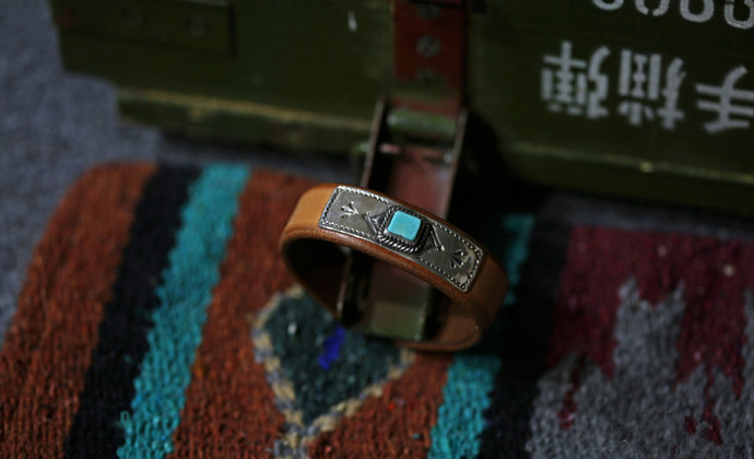 集点手作坊 手工皮具原色意大利 手工银饰 印第安阿美咔叽皮手环
