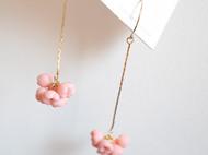 teatime  肉桂粉花朵团  耳环 耳夹