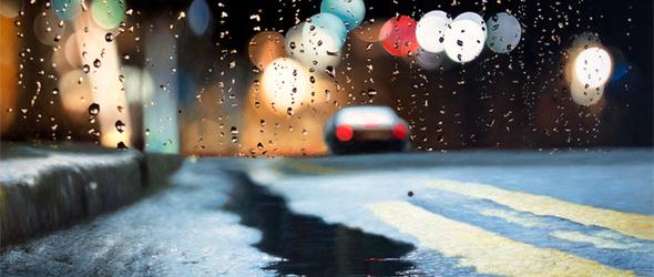 雨季,车窗外 - 艺术家Shay Kun怀旧的雨摄影作品