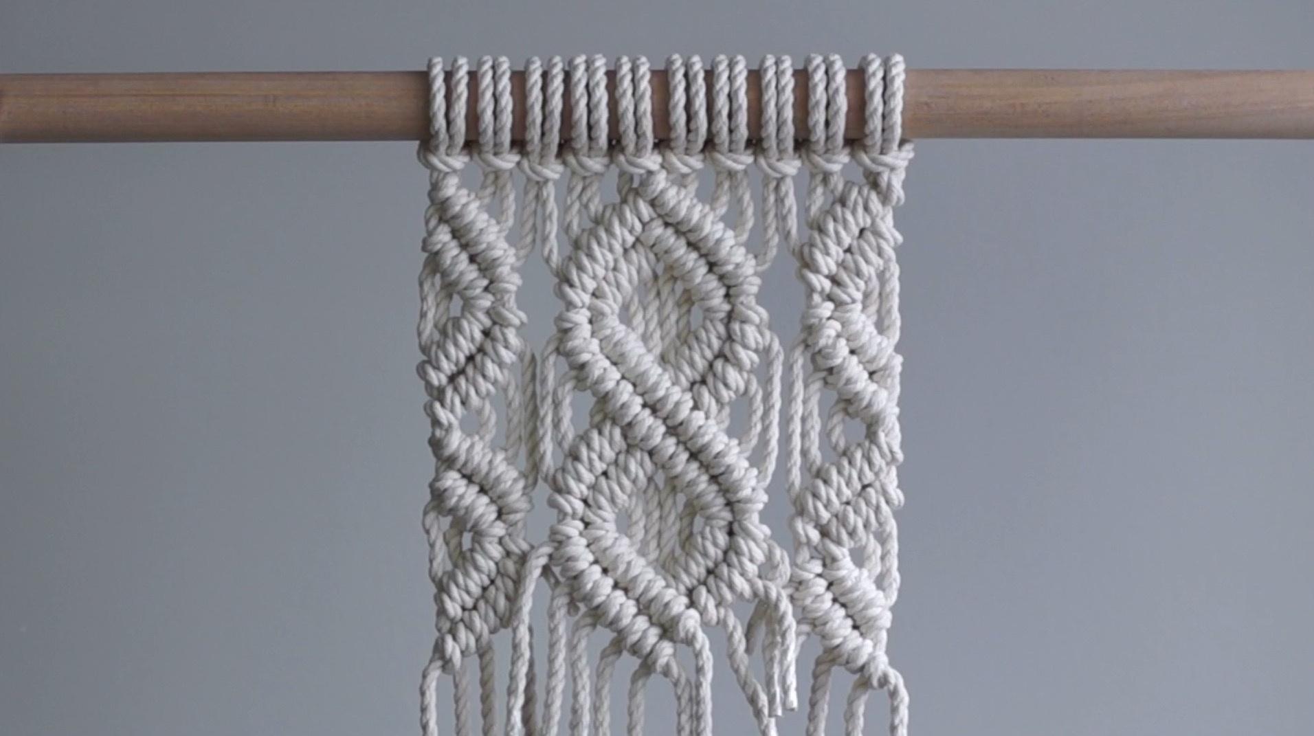 DIY Macrame绳编视频教程:钻石图案的编织