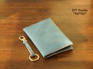 进口牛仔纹牛皮钱夹卡夹/护照夹 手缝牛皮护照夹钱夹 一起旅行吧~