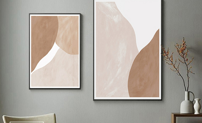 温暖色调的现代抽象风家居装饰画