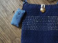 手工蓝染布包
