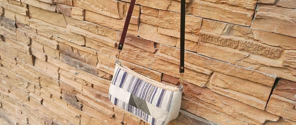 大地色条纹布包小挎包