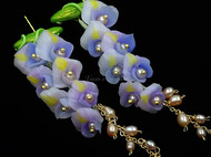 冷瓷紫藤花耳环