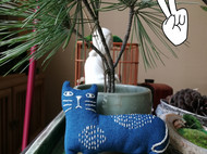 蓝染手工猫咪 胸针  刺子绣  玩偶 娃娃 刺子绣 玩偶