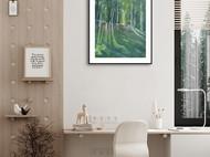 油画风景-白桦林