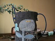 手工缝制 水桶包 柿染 拼布包 包包 单肩包 斜挎