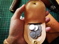 简约硬币包,古村手工皮匠