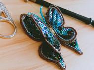 法式钩针刺绣——黑蝶