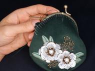 【珠绣】白花口金包