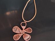 三晒定制 原创设计手工绕线纯紫红铜花朵皮绳项链毛衣链吊坠