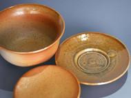 柴烧盖碗 三只茶杯  手工制作