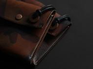 软植鞣革红铜吊坠小钱包