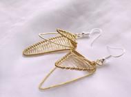 三晒定制 原创设计手工绕线黄铜多层三角不对称耳环