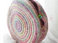 手工钩针段染蕾丝线铃鼓包