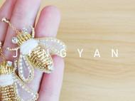 法式钩针刺绣蜜蜂耳钉