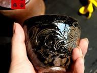 传统龙窑柴烧全手工刻花茶杯