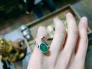 石榴石/白水晶/玉髓/银戒指