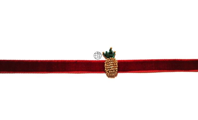 限量款法式珠绣菠萝脖带,S925纯银连接扣