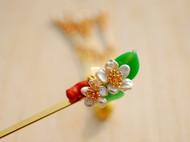独家原创手作手工DIY清新珍珠花琉璃珊瑚枝发簪发饰