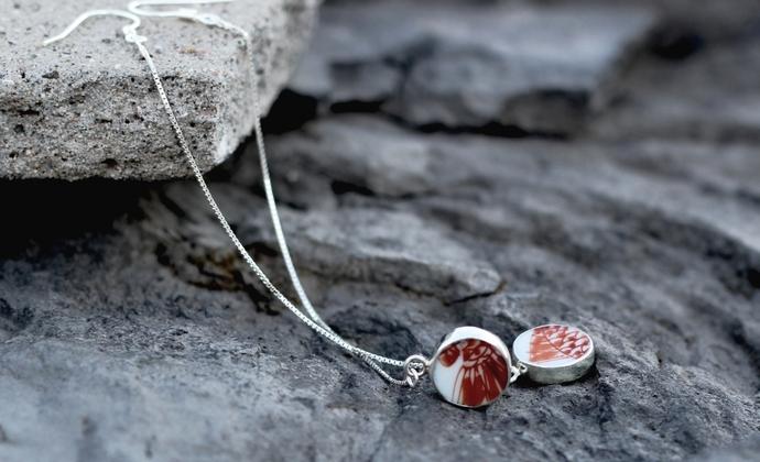 清代康熙矾红鱼纹古瓷包银耳坠