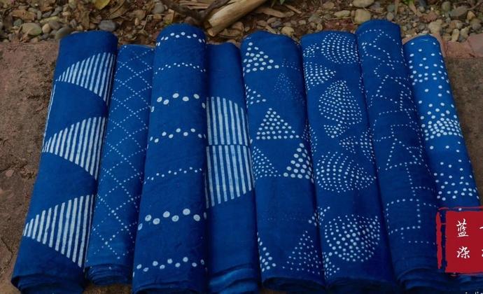 古拙蓝染 植物染手织老土布 桌旗 茶席 暖帘 包包 DIY 面料型染 草木染