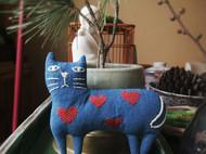 蓝染猫咪挂件胸针