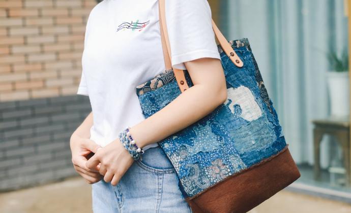 日本古布褴褛风拼布手提包
