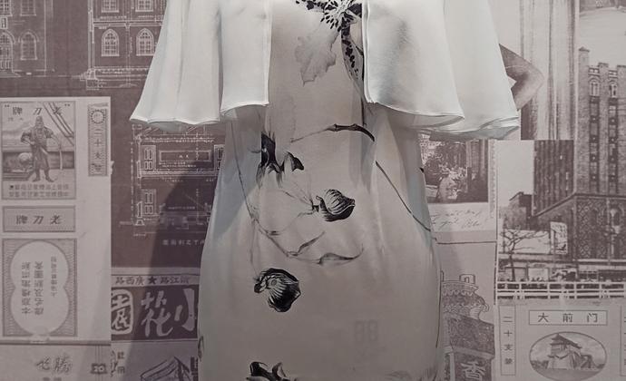 白百合波浪袖旗袍