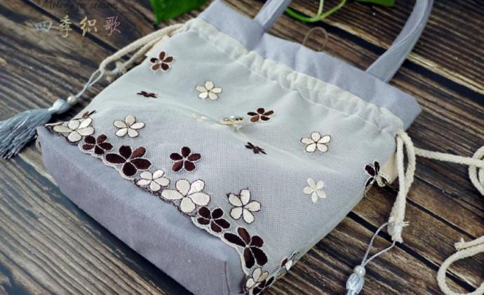 四季织歌原创手作棉麻古风汉服斜挎手提两用包包