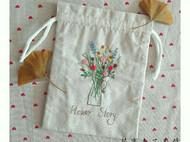 花之故事双面绣束口袋